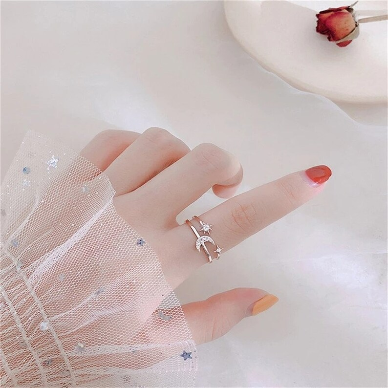 Open ring Star and moon ring Double layer star and moon ring Celestial ring Adjustable ring