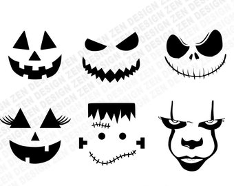 Halloween Faces Svg Etsy
