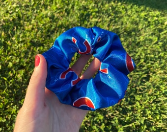 chicago cubs upcycled scrunchie