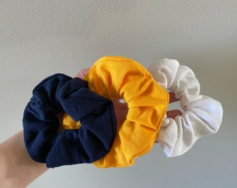 blue, gold, & white upcycled scrunchies
