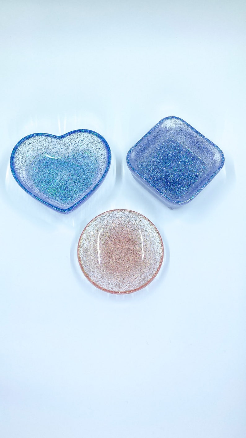 Handmade epoxy resin small trinket boxes set of 3 ring dishes earrings storage jewelry bowls