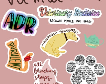 Veterinary Medicine Sticker Set #2 / Vet Med Stickers / Vet Tech Stickers / DVM Stickers / Cat Stickers / Dog Stickers