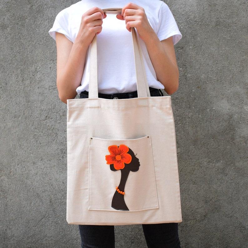 African lady cotton tote bag Birthday unique gift Neutral color medium shoulder bag