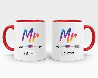 Personalised Gay Marriage Mug Set LGBTQ Custom Present Mr & Mr For Him Groom Gay Pride Homo Same Sex Marriage Coffee Mugs Anniversary M641