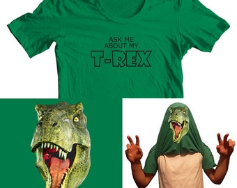 Mens Ask Me About My T Rex Dinosaur Funny Flip Over Head T Shirt