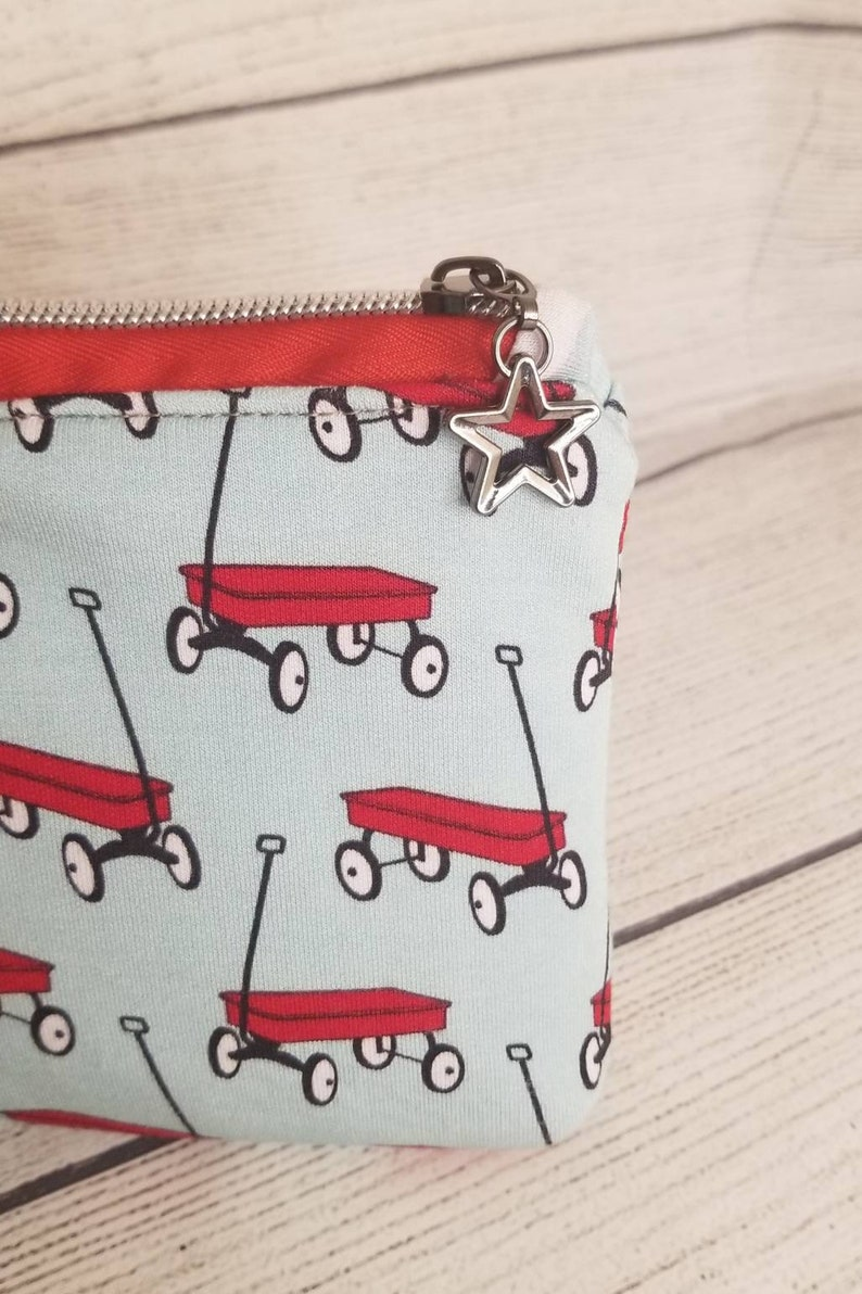 they see me rollin pouch storage bag harlequin pouch Radio flyer wagon purse gifts for her zipper pouch