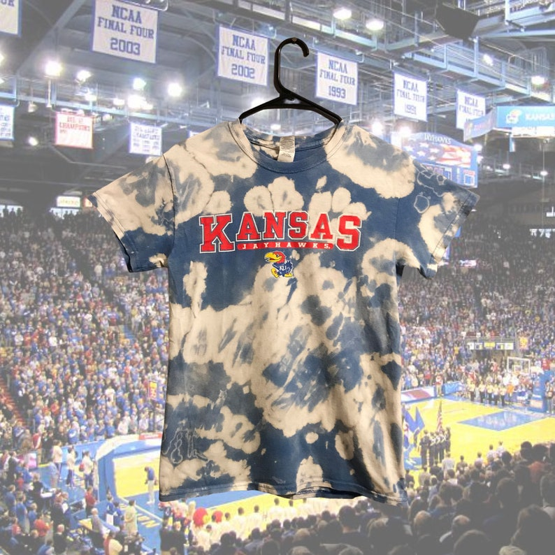 Kansas Jayhawks Upcycled Bleach Dye Shirt Adult S