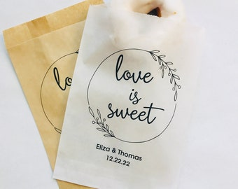 Love Is Sweet Calligraphy Wedding Candy Buffet Treat Bags 0122 Personalized Favor Bags in Black and Red Custom Kraft Paper Bags
