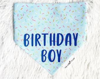Blue Birthday Dog Bandana -  Cotton Dog Bandana- Barkday Bandana - Sprinkles Bandana - dog birthday,dog birthday bandana,dog party,boy dog