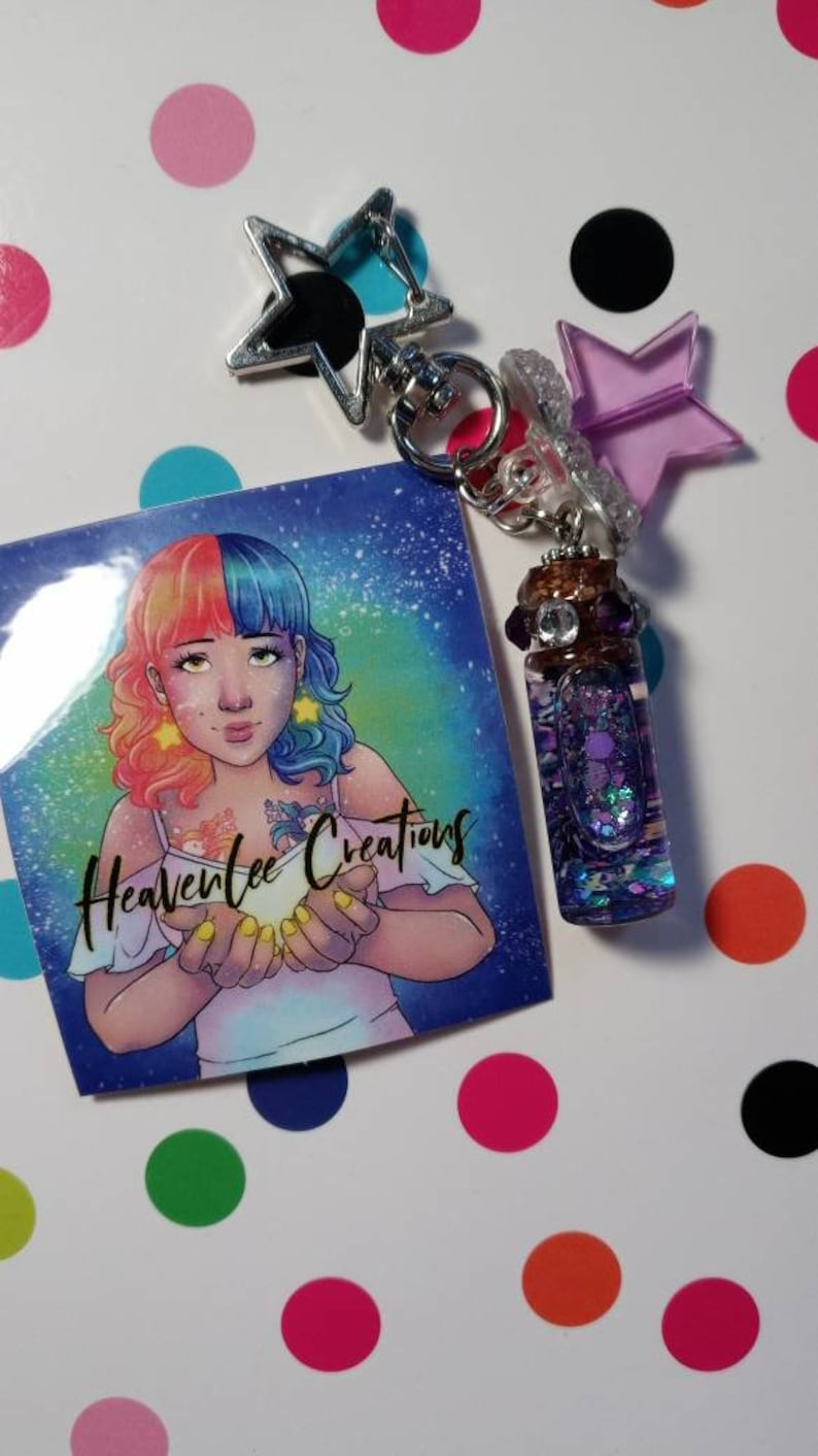 Starry keychain with earrings great as gift.