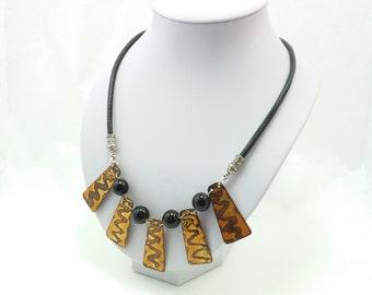 Golden Enamel Necklace