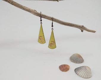 Enamel Detail Copper Earrings