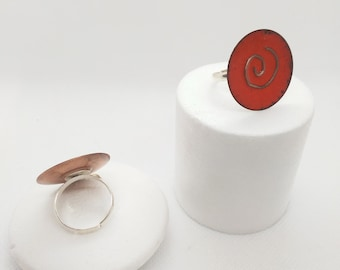 Copper Detail Enamel Rings