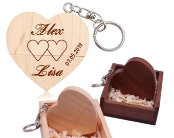 HEART 32GB USB Stick + Engraving Wish Text Wood Wedding Love Personalized