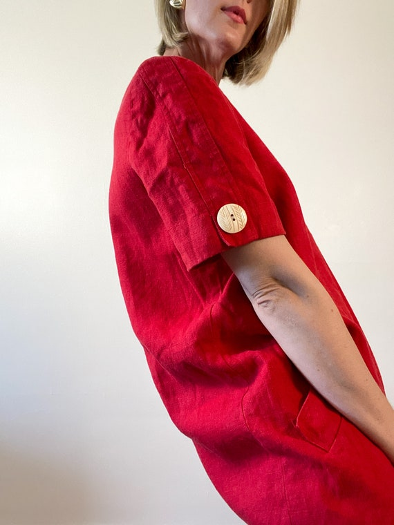 80s Vintage Scaasi Linen Dress / Boxy Red Linen D… - image 6