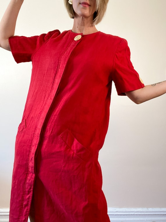 80s Vintage Scaasi Linen Dress / Boxy Red Linen D… - image 7
