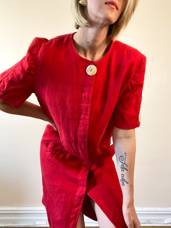 80s Vintage Scaasi Linen Dress / Boxy Red Linen D… - image 2