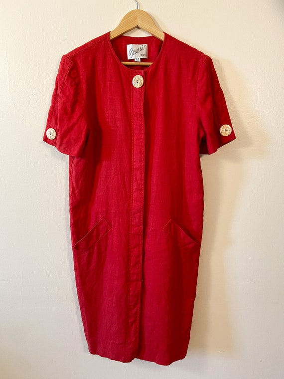 80s Vintage Scaasi Linen Dress / Boxy Red Linen D… - image 8