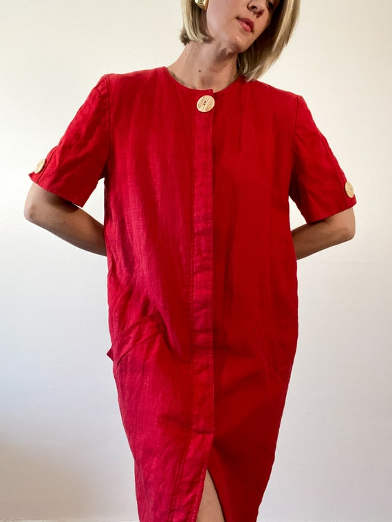 80s Vintage Scaasi Linen Dress / Boxy Red Linen D… - image 4