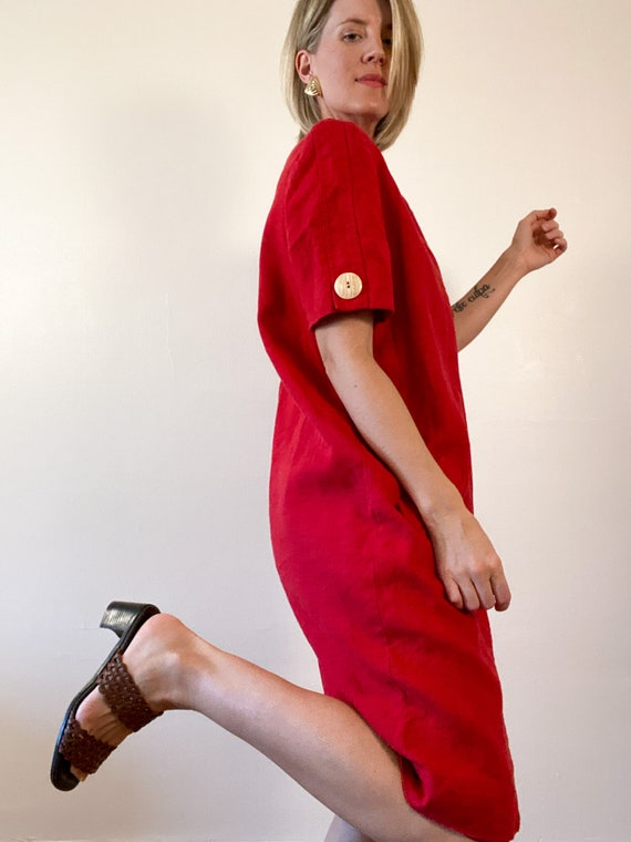 80s Vintage Scaasi Linen Dress / Boxy Red Linen D… - image 5