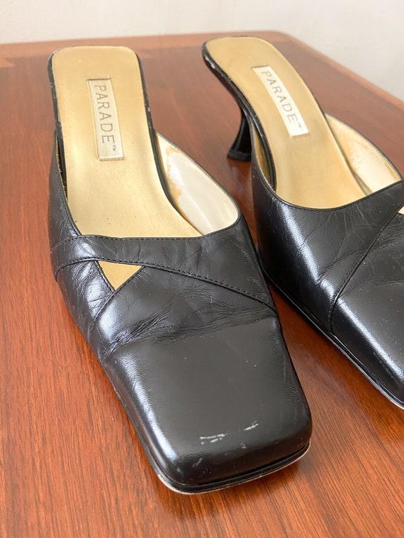90s Vintage Kitten Heel Mules / PARADE / Black Le… - image 4