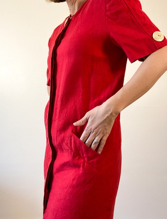 80s Vintage Scaasi Linen Dress / Boxy Red Linen D… - image 3