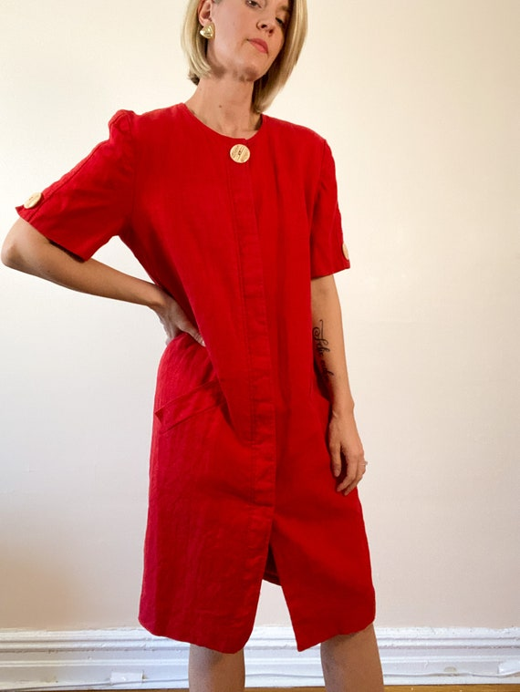 80s Vintage Scaasi Linen Dress / Boxy Red Linen D… - image 1