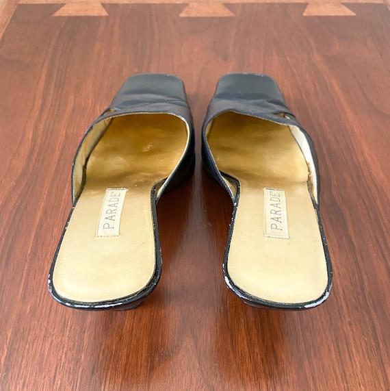 90s Vintage Kitten Heel Mules / PARADE / Black Le… - image 6