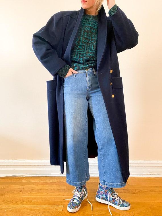 High Collar Jacket Coat 80s Wool Dolman Sleeve Jacket M L weed Wool Jacket