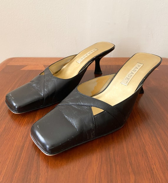 90s Vintage Kitten Heel Mules / PARADE / Black Lea