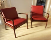 Ole Wanscher Mid-Century PJ112 Danish Mahogany Lounge Chairs for Poul Jeppesen