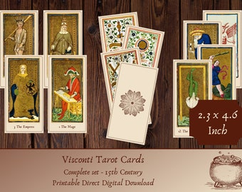 Visconti Tarot Deck | 15th century reproduction | Printable Instant Download | vintage medieval | complete 78 cards