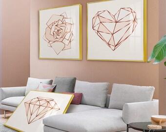 Rose Gold Bedroom Decor Etsy