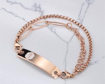 Custom Medical Alert ID Bracelet For Women Personalized Identification Emergency Womens ID Bracelet Allergy Bracelet Medical Allert Jewelry