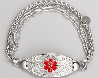 Custom Medical Alert ID Bracelet For Women Personalized Identification ID Emergency Womens Medical ID Awareness Bracelet Allergy Jewelry