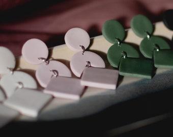 Geometric Drop Dangle Statement Earrings | Polymer Clay Earrings | Stainless Steel