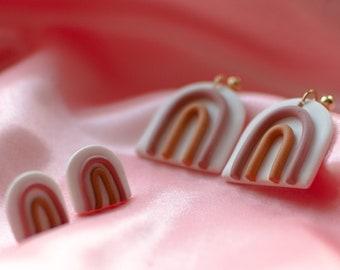 Minimal Rainbow Earrings | Polymer Clay Earrings | Stainless Steel