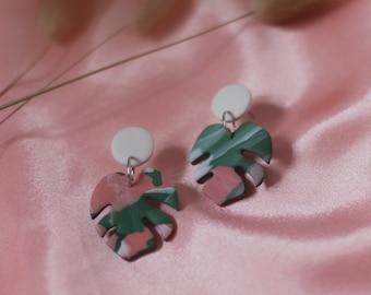 Pink & Green Tropical Marble Monstera Leaf Earrings | Polymer Clay Earrings | Stainless Steel
