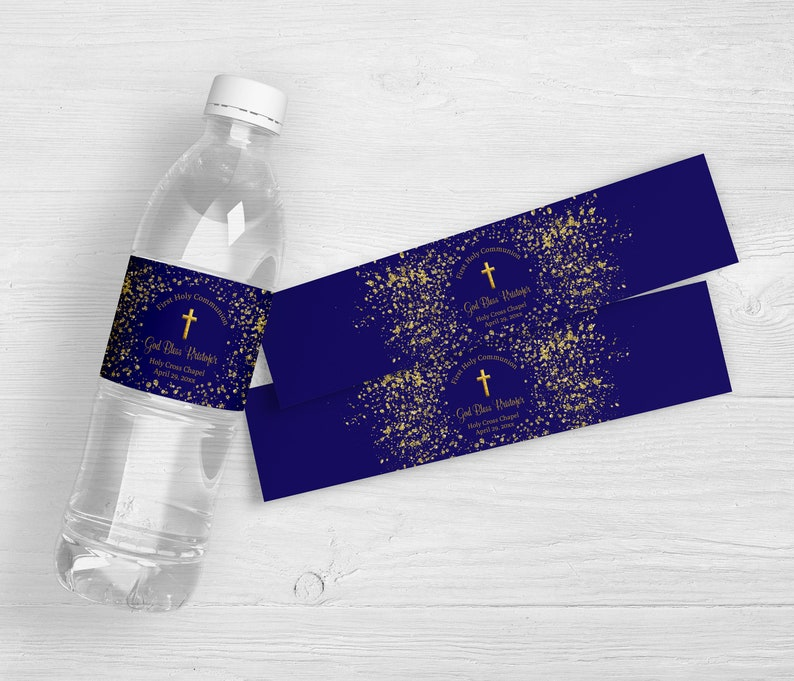 Baptism Party Favor Religious Party Favors Christening Party Favor Cross Decoration Set of 10 First Communion Water Bottle Labels