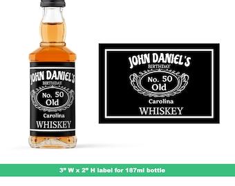 Black Label Mini Liquor Label for 50ml Whiskey |  Birthday Mini Liquor Label for Man | Milestone Party Favor | 50 ml Liquor Bottle Labels