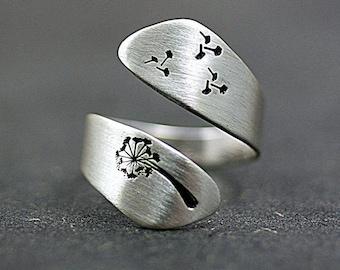 Dandelion Finger Ring Blowflowers Resin Ring