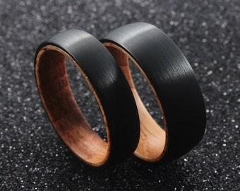 Whiskey Barrel Ring – Plain Blank Mens Wedding Band – Authentic Whiskey Barrel Oak Wood Mens Ring Nature Ring, Tungsten Ring Men, male ring
