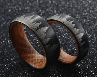 Whiskey Barrel Ring – Pine Tree Forest Mens Wedding Band – Authentic Whiskey Barrel Oak Wood - Mens Ring Nature Ring, Tungsten Ring Men