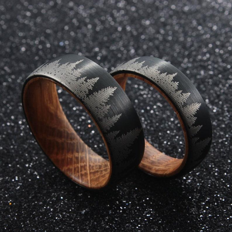 Whiskey Barrel Ring  Pine Tree Forest Mens Wedding Band  image 1