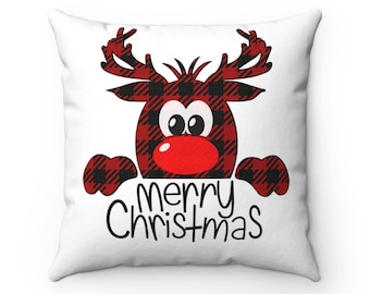 HANDMADE RUDOLPH THE RED NOSED REINDEER  HOLIDAY CHRISTMAS PILLOW