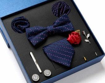 100% Silk Tie Bowtie Gift Set 8 Pieces Tie Bowtie Cufflink Tie clip Brooch Pocket Square Gift Box