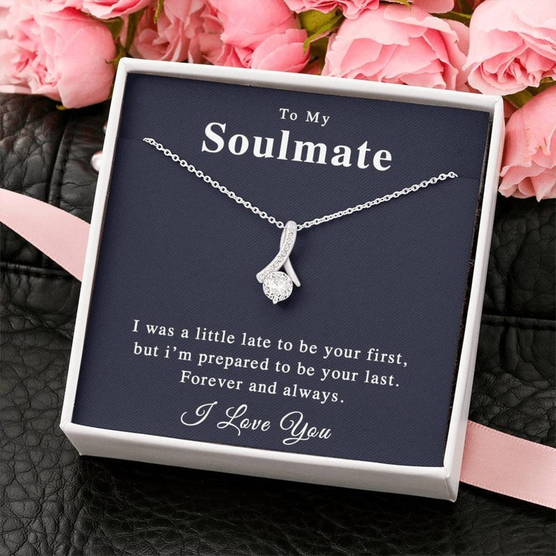 Anniversary Gift for Wife To My Soulmate Custom Message Valentines Day Gift for Her Wife Necklace Gift for Fianc\u00e9,Gift for Girlfriend
