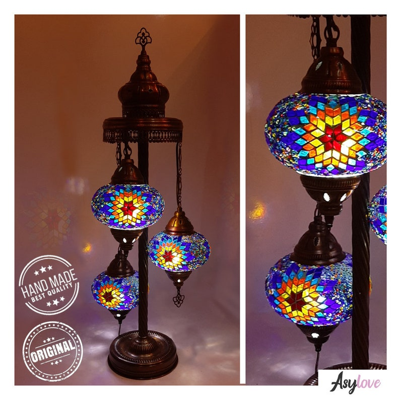 Mosaic Lamp  Desk Lamp   3 Large Globe  100% Handmade in Blue