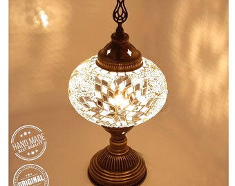 Turkish Lamp, Turkish Desk Lamp, with a Large Size Globe. 100% Handmade in Turkey. Ayslove Special Production Lamps