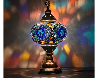 9 Variations Mosaic Turkish Moroccan Table Lamp, Free Express Shipping,Handmade in Turkey